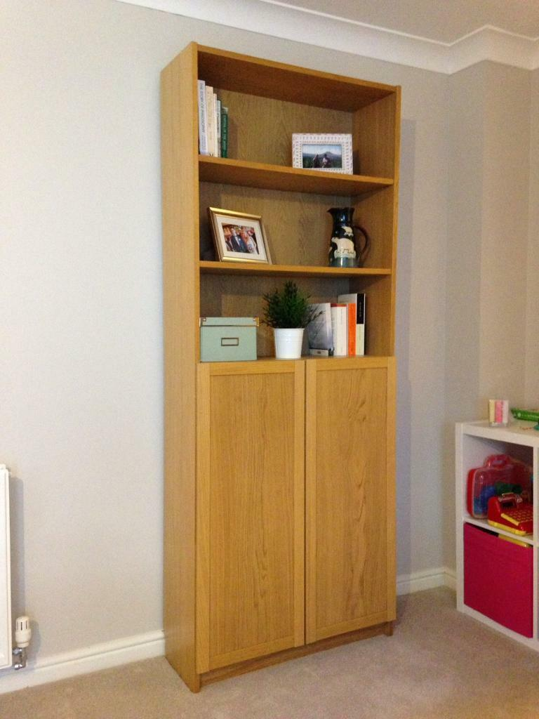 Ikea billy bookcase with half doors - oak | in ...