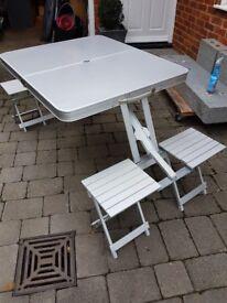Aluminium Folding picnic Table and 4 chairs