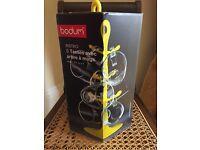 Bodum Bistro Mug Tree with 6 Glass Mugs! Yellow. Brand new in box.
