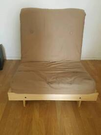 Pine single futon chair/ guest/ pull out sofa bed