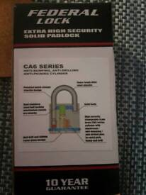 Brand new federal padlock lock hasp and staple shed garage storage unit etc