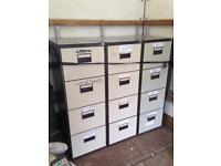 3 second hand matching office 4 draw filing cabinets