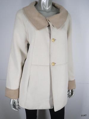 St John Jacket Coat Reversible Size M Cream Ivory Tan Color Block Swing A-line