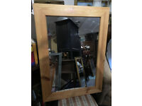 Attractive Large Solid Pine Framed Wall Mirror