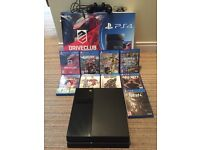 PLAYSTATION 4 INCLUDING: CONTROLLER, 9 GAMES AND ACCESSORIES.