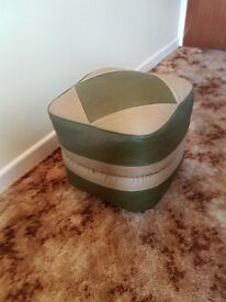 Retro green and gold Pouffe /Foot stool