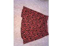 Red leopard print skirt