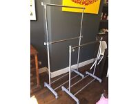 2 x clothes rails - 1 double hanger and one single hanger
