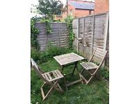 Wooden garden table and two chairs IKEA