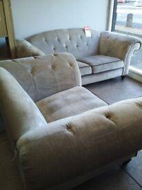 Newe sofology grey velvet chesterfield suite