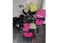 silver cross surf pram puschair travel system 3in1 pink green unisex cybex base