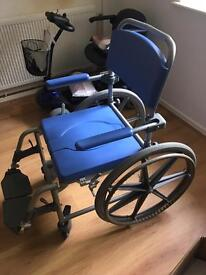 Self propelled shower and commode chair.