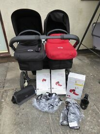 BUGABOO DONKEY TWIN PRAM WITH ACCESSORIES - BLACK