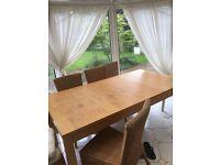 Ikea Oak Veneer Extending Table PLUS SIX rattan chairs