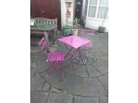 Outdoor bistro furniture, 1 steel table and 2 steel chairs, foldable