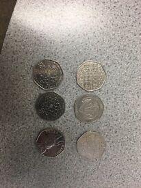 Rare 50p coins X 5