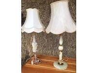 Two vintage/antique onyx lamps