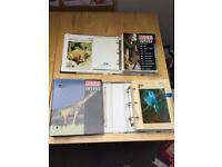 3 wildlife fact files with approximately 250 animal/world habitat/extinct animal (dinosaur) cards