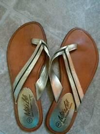 'Mike Luff' real leather designer flip flops.