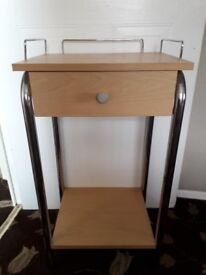 Light Oak-coloured Telephone Table with Chrome Supports