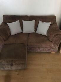 2 x Brown Fabric Sofas