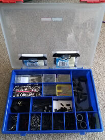 Kite making parts and storage box.