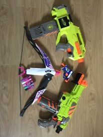 Nerf Guns x 3 and Bow