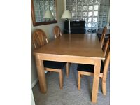 12 seater solid wood dining table with 4 chairs