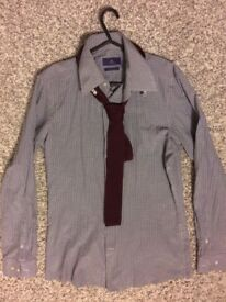 NEXT new mens slim fit shirt and red knitted tie set size Medium ! Bargain