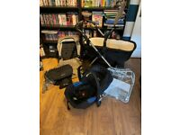 Silver Cross Wayfarer Pushchair Pram, Carry Cot, Car Seat, Sand Colour, Rain Cover, Umbrella