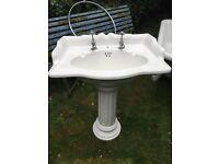 Vintage style Rolltop bath , pedestal handbasin & chrome shower hoop