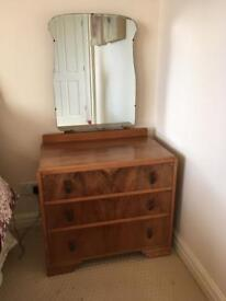 1940's Solid walnut dressing table