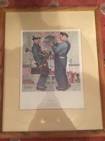 Old vintage framed print of laurel and hardy