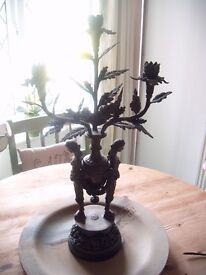 3 Branch Spelter Candelabra on a Porcelain Base Measures 24 Inches tall £30