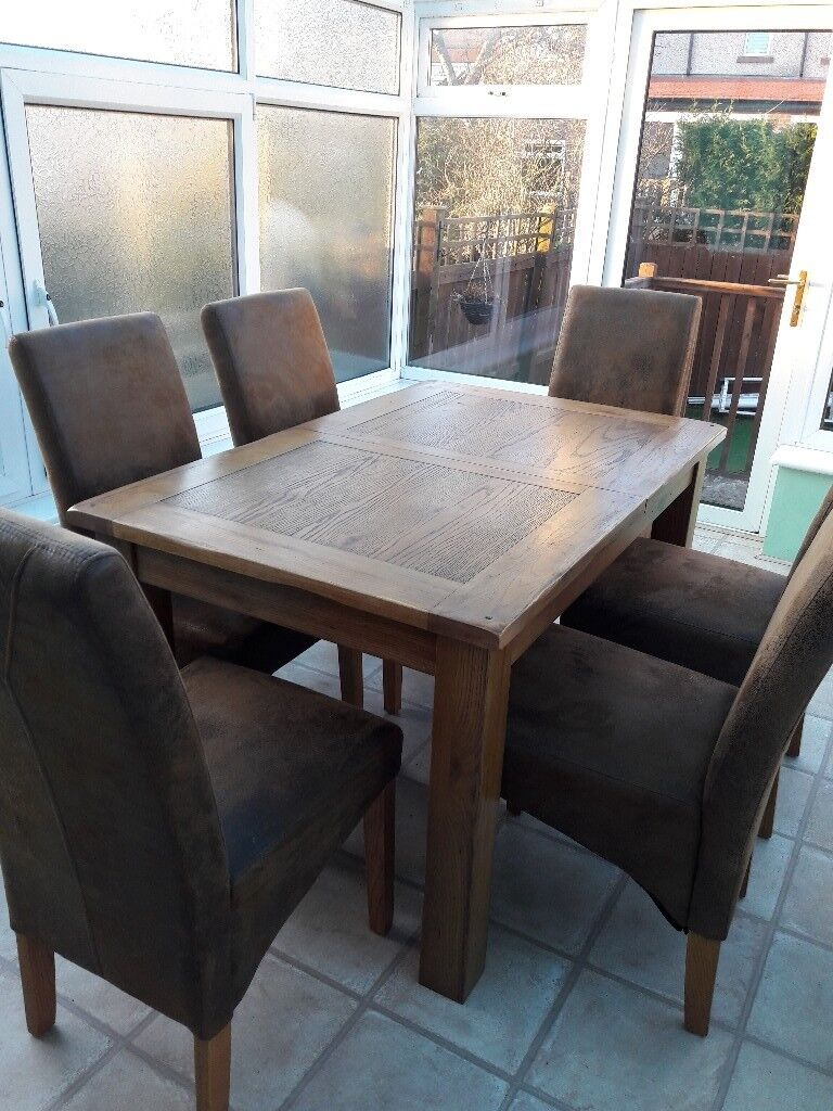 Oak Dining Table And 6 Faux Leather Chairsgood Condition150