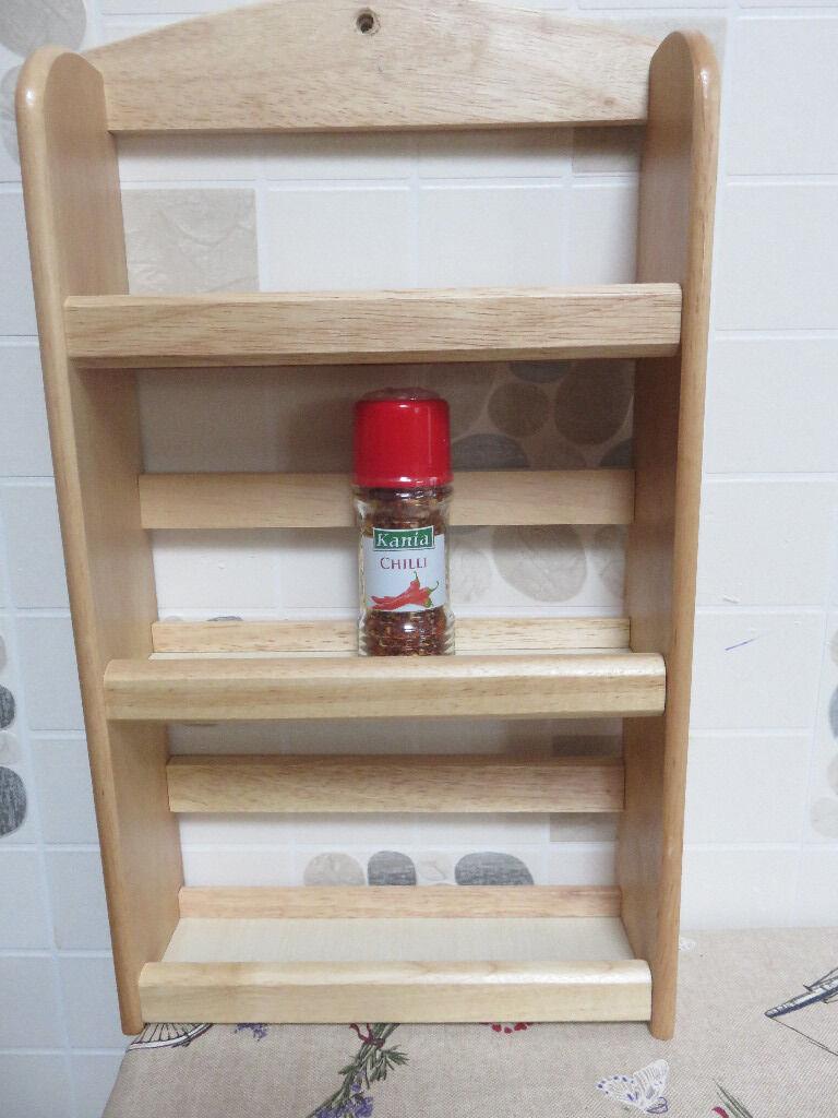 3 shelf wooden spice rack