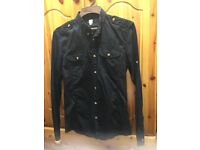 BLACK MENS SHIRT BY FIRETRAP, LONG SLEEVED - BRAND NEW (SMALL SIZE)