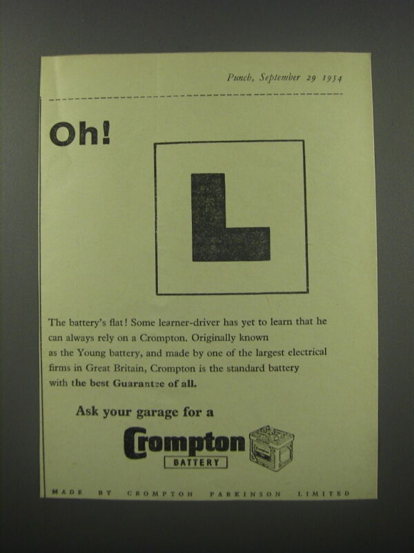 1954 Crompton Battery Ad - Oh!
