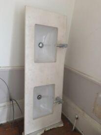 His and hers designer Duravit vanity basins, samuel heath taps and natural limestone worktop