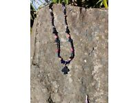 "Funky haematite/pink necklace with ""club"" motif, length 17 inches"