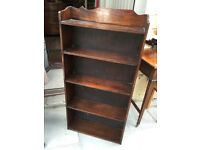 Vintage mahogany narrow bookcase . With 5 shelves. Size L 22in D 7in H 45in. Free local delivery.