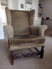 Armchair, winged, solid wood frame, upholstered, winged, classic