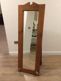 Pine floor standing mirror, rope detail, excellent condition