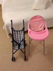 Baby doll pushchair and high chair