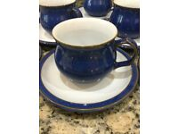Denby Imperial Blue Teacups & Saucers, 3x Mugs, teapot and sugar bowl