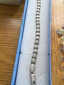 Ladies genuine sterling silver bracelet hallmarked 925