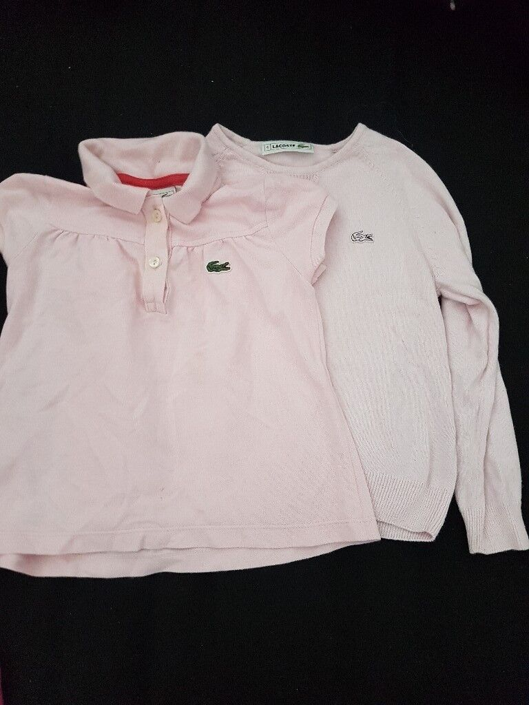 girls pink lacoste jumper and tshirt