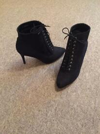 Black Brand new, black suedette shoe boot with laces size 7 wide fit.