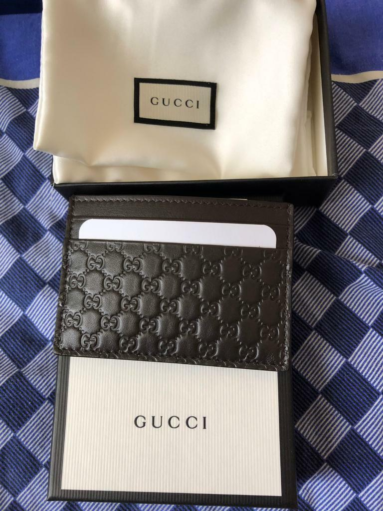 1d8e5796d304 Brand New Official Gucci Cardholder Wallet Genuine For Men and Women - Dark  Chocolate Brown