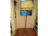 ANTIQUE FRENCH BRASS STANDARD LAMP & SHADE 2 sets of three lights